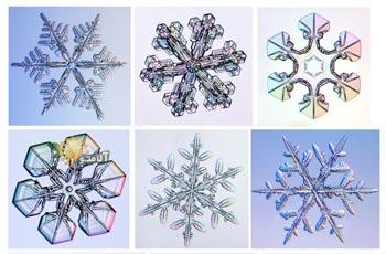 Все снежинки имеют шестиугольную форму.  Детальный рисунок у каждой снежинки уникален.